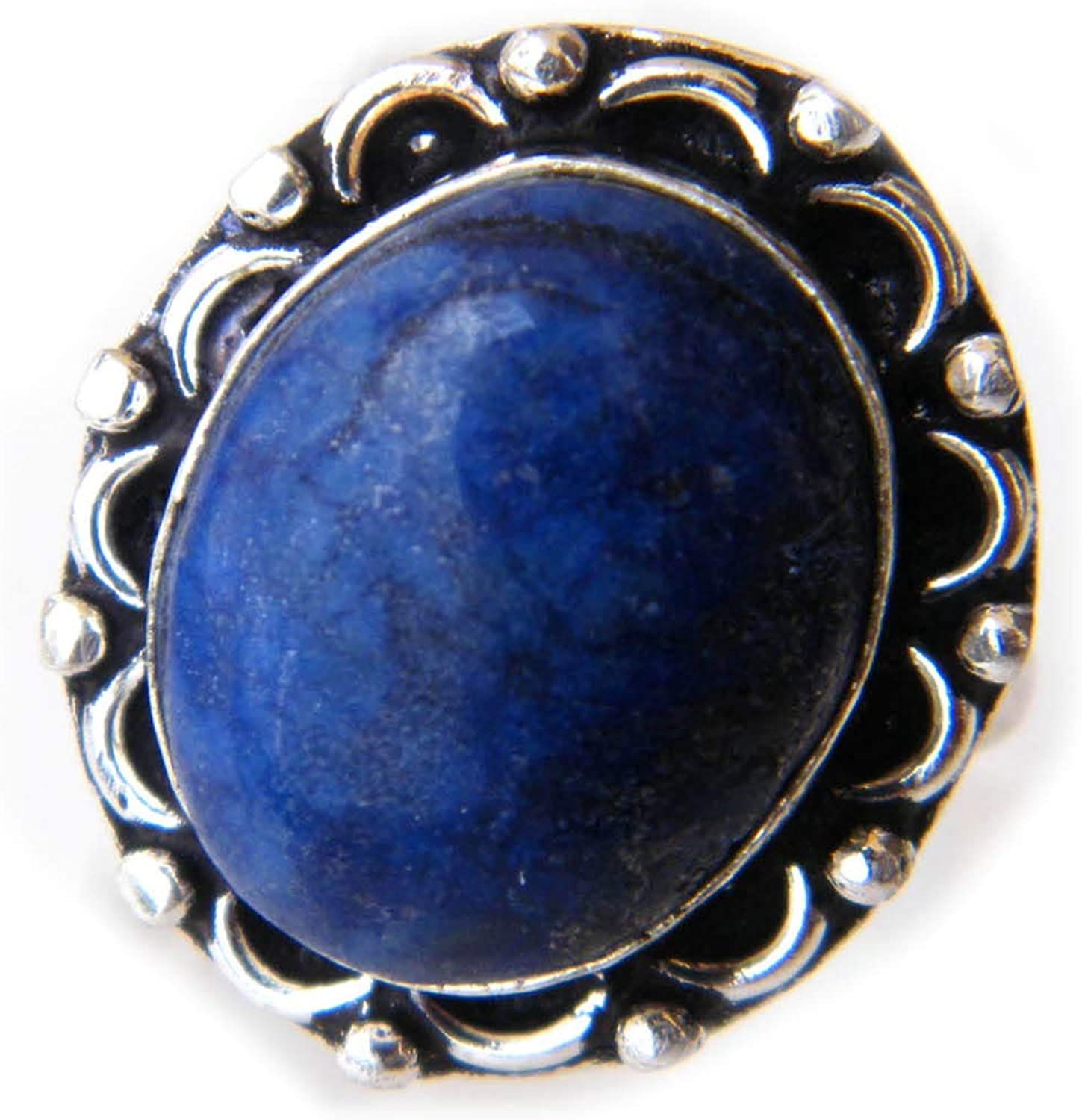 Thebestjewellery Lapis Lazuli cabochon Ring, Silver Plated Ring, Handmade Ring, Women Jewelry, (Size- 7.75 USA) BRS-5768