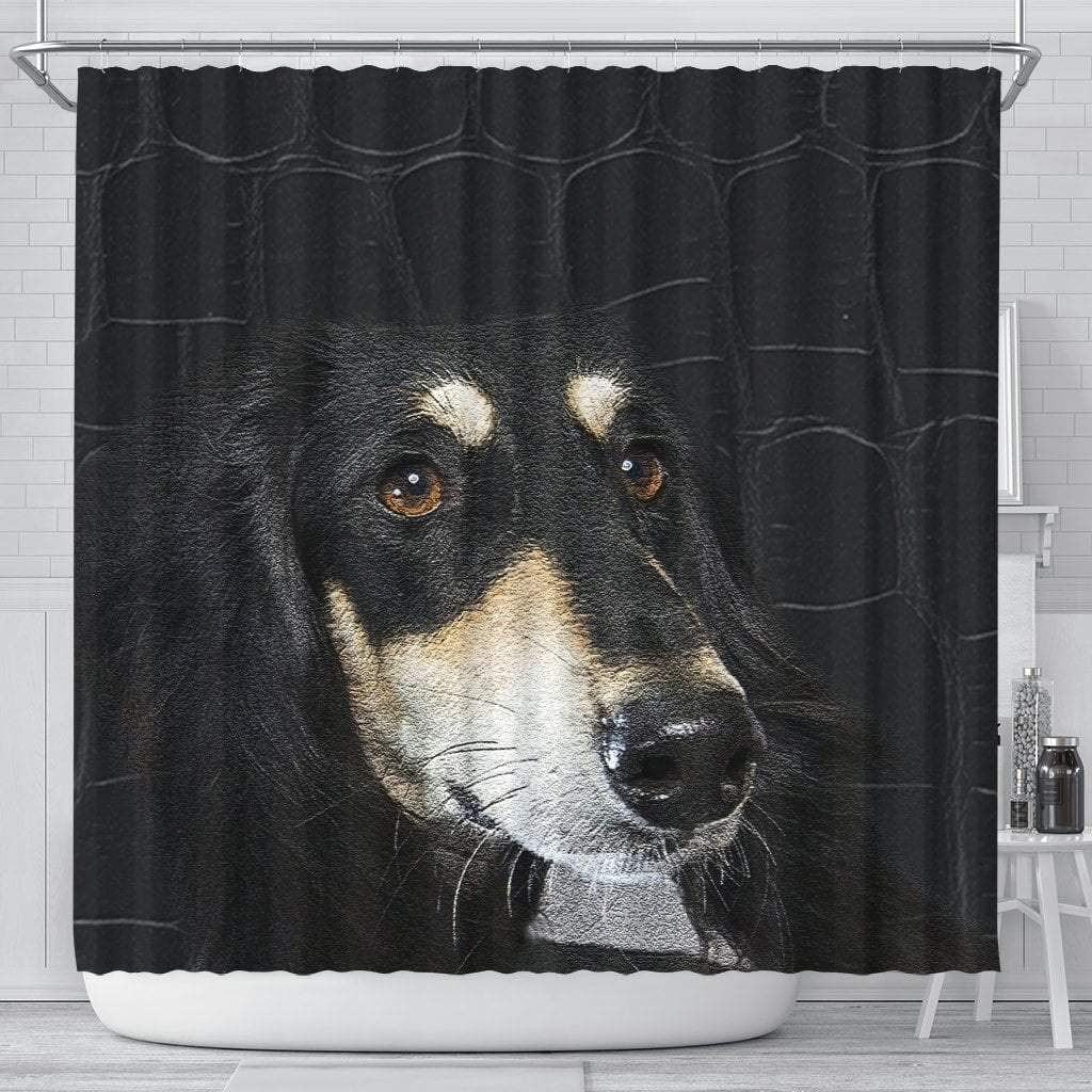 Paws With Attitude Black Saluki Dog Print Shower Curtain