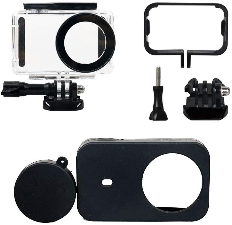 Yifant 3 in 1 Full Protect Kit Waterproof Housing Case for Xiaomi Mijia 4K Mini Action Camera 148ft / 45M Underwater Diving Case Side Frame Cover Silicone Shell Protective (Black)