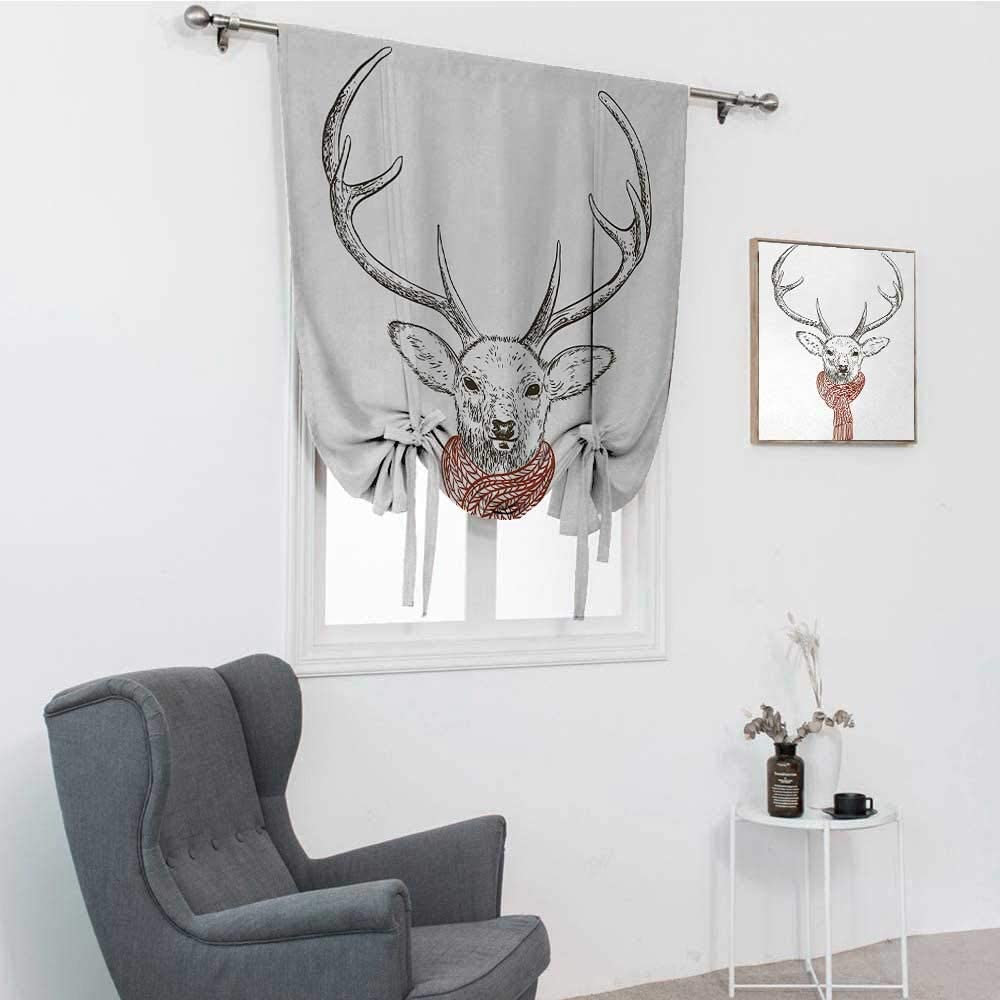 GugeABC Antlers Drapes for Living Room, Illustration of a Deer Wearing Scarf Knitted Neck Wintertime Cold December Balloon Valance Drape, Redwood Grey White, 39