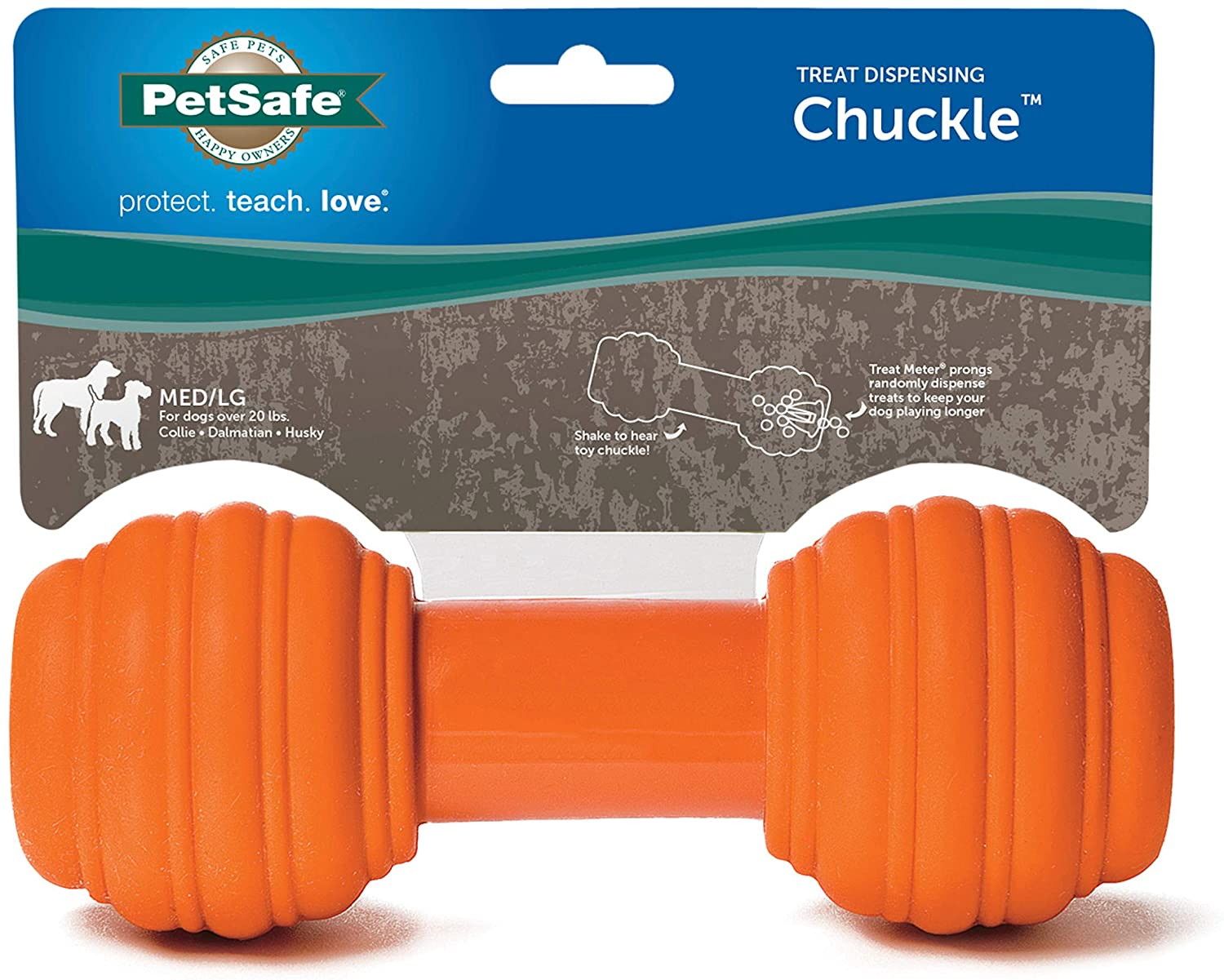 PetSafe Sportsmen Chuckle Interactive Dog Toy with Noise Maker, Use with Food or Treats
