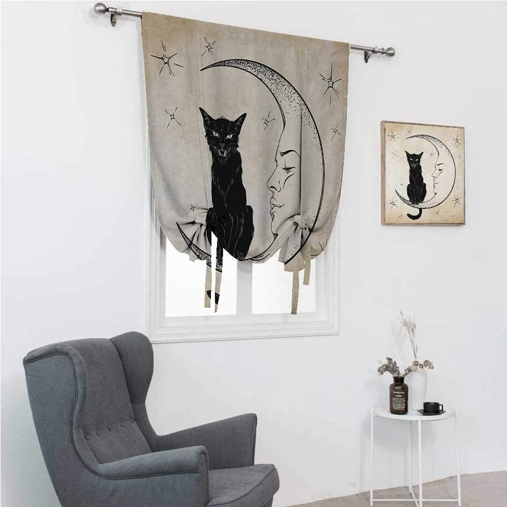 GugeABC Balloon Shades Moon Thermal Insulated Adjustable Black Cat Sitting on White Crescent Moon Contrasting Facial Expressions Feline 30