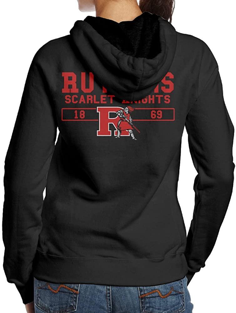BNBN Women's Rutgers University Hooded Sweatshirt On The Back Black