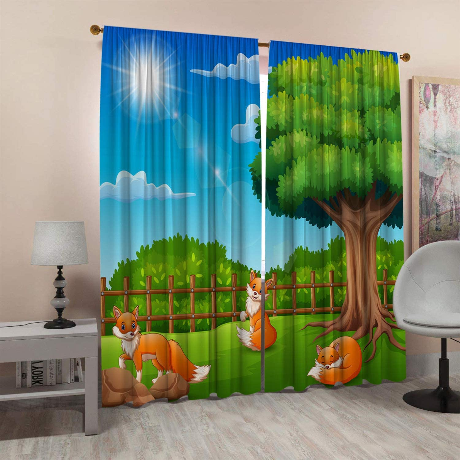 SeptSonne Kids Room Window Curtain Panels Drapes is A Cage to Enjoy Nature Kids Room Darkening Curtains Artwork Customized Curtains 52x63 Inch