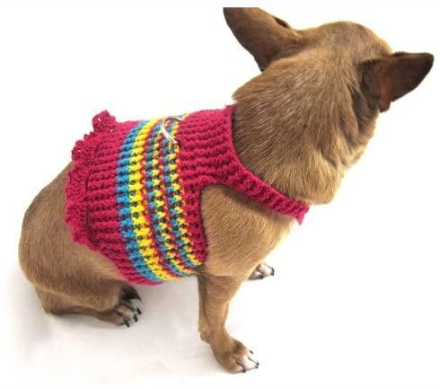 ToniMoz Pink Dog Harness Dress Cotton Crochet Custom Sizing are Welcome 11H (Medium)