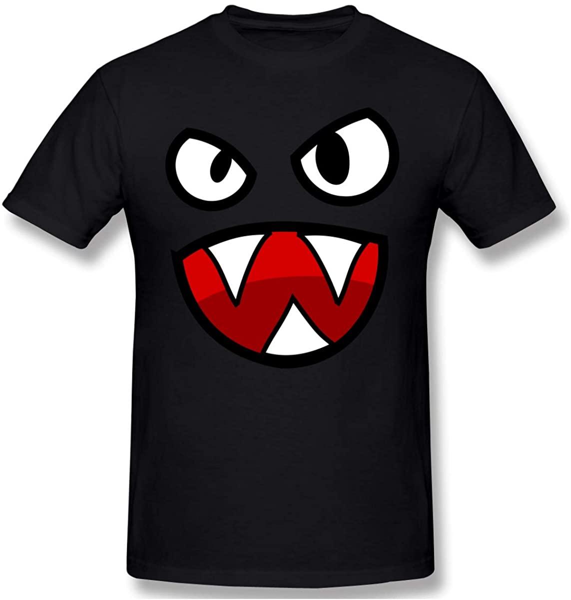 Padida Mens Cartoon-Monster Black Graphic Customlized Tees O-Neck Short Sleeve T-Shirt