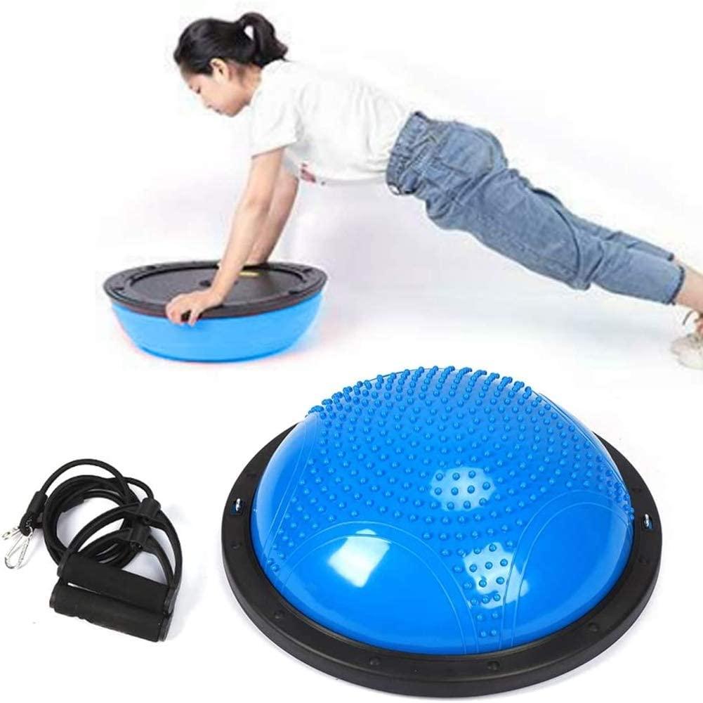 QWJUN Yoga Balance Half Ball, Semicircular Balance Ball, Yoga Wave Speed Ball, with Resistance Bands, for Rehabilitation Training Weight Loss Strengthen The Muscles