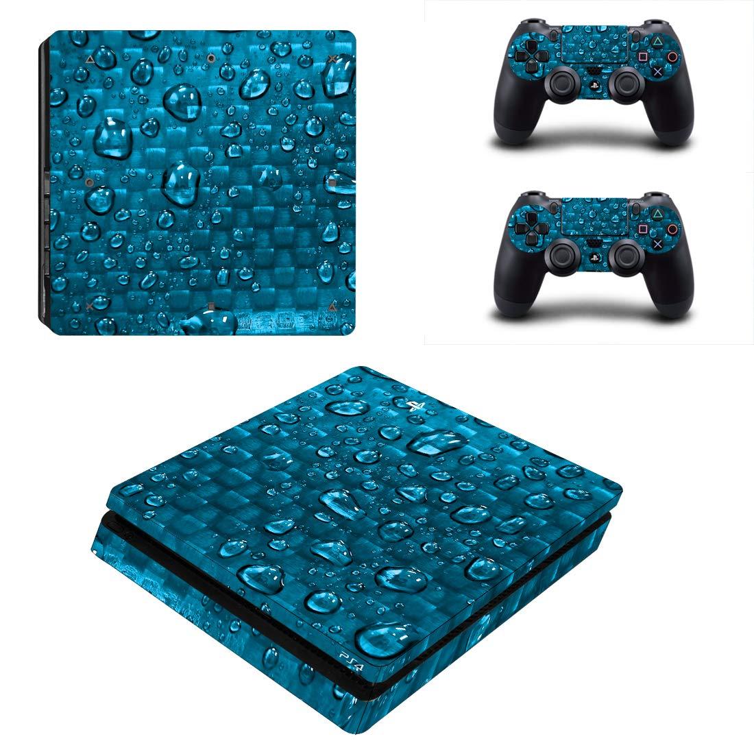 Adventure Games - PS4 SLIM - Carbon Fiber, Royal Blue, Wet - Playstation 4 Vinyl Console Skin Decal Sticker + 2 Controller Skins Set
