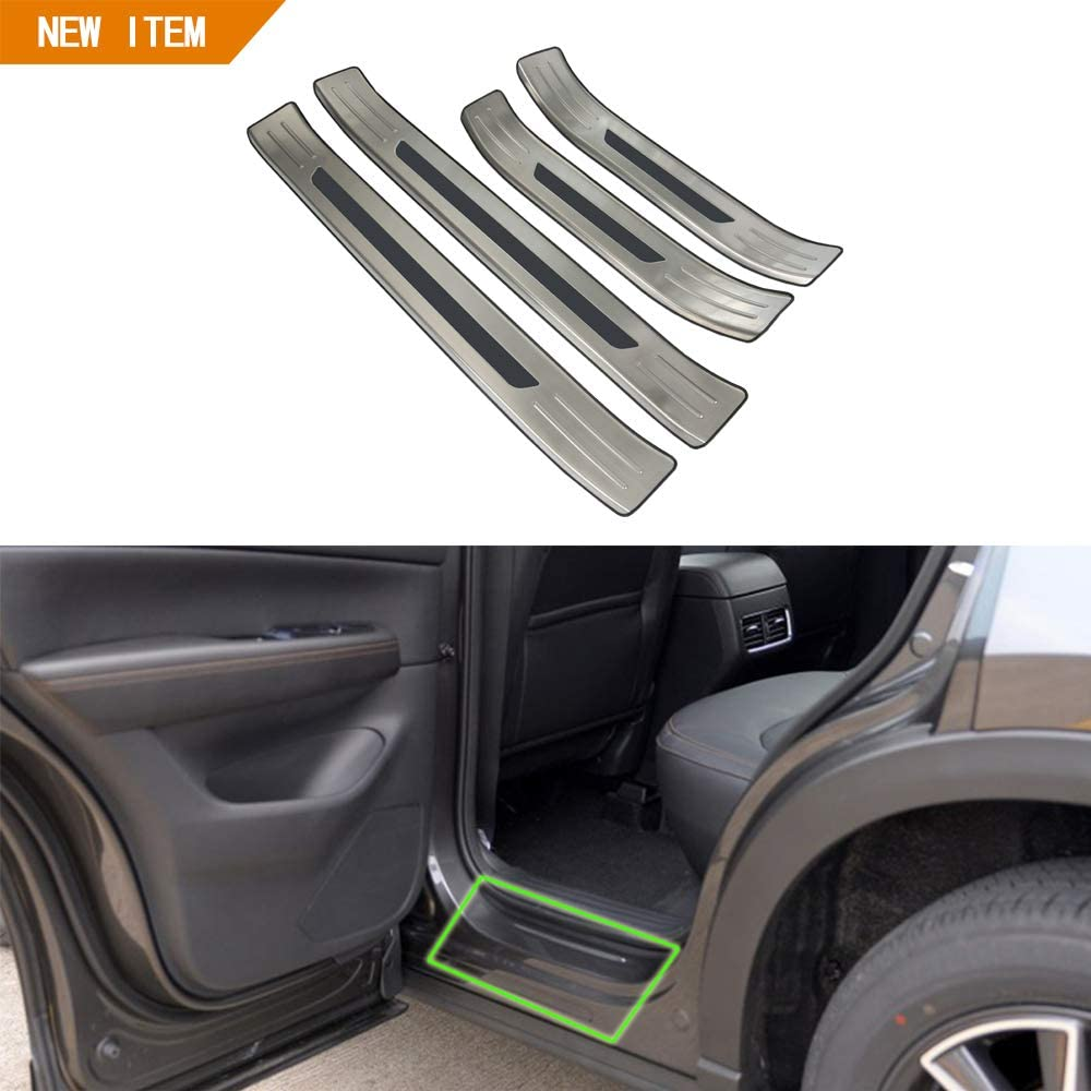 OBL Car Accessories Side Outer Door Sills Scuff Plate Stainless Steel 4PCS for Mazda CX-5 2017 (Outer Door Scuff Plate)