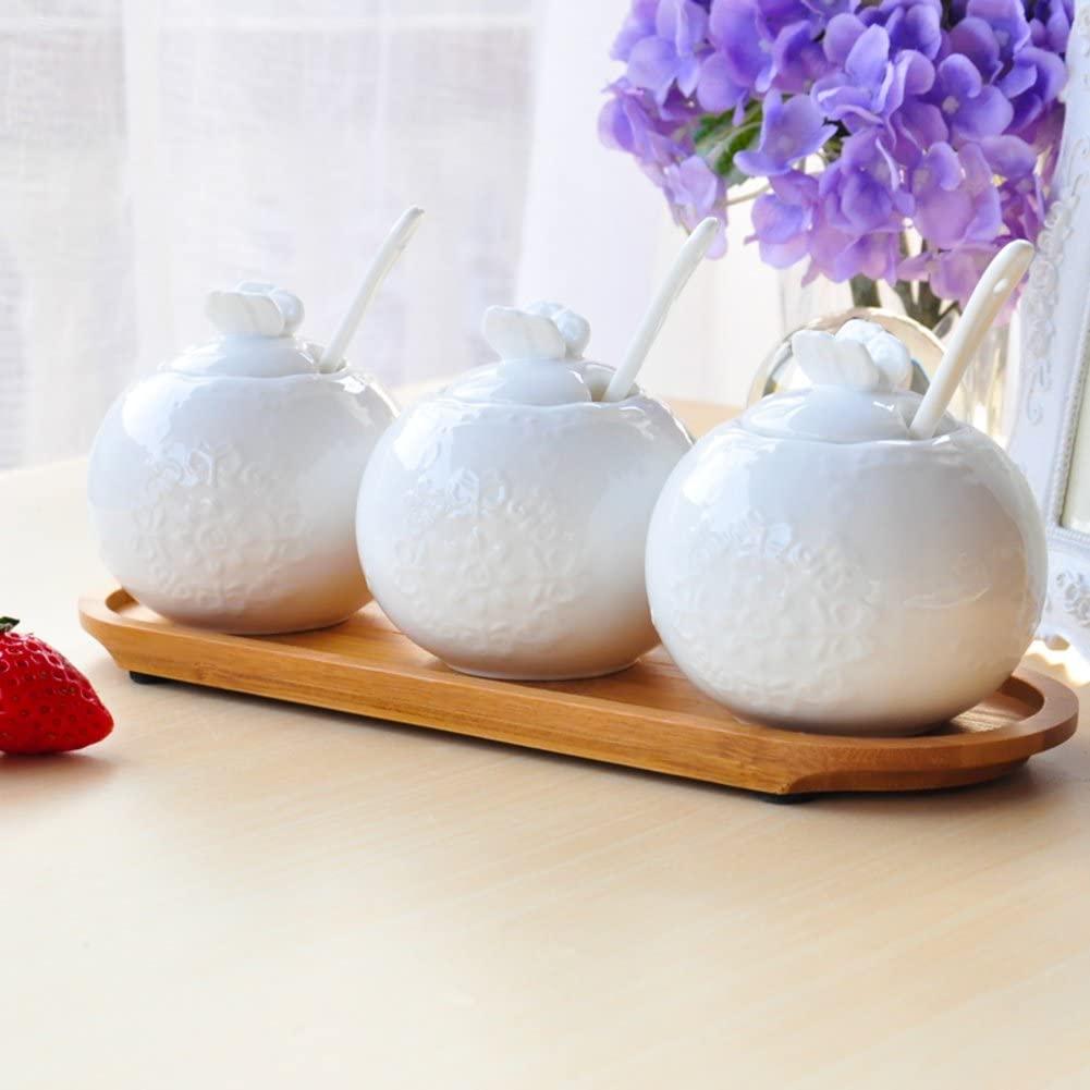 European creative home Three-piece ceramic Spice jar Cap Kitchen Spice jar set White salt shaker set