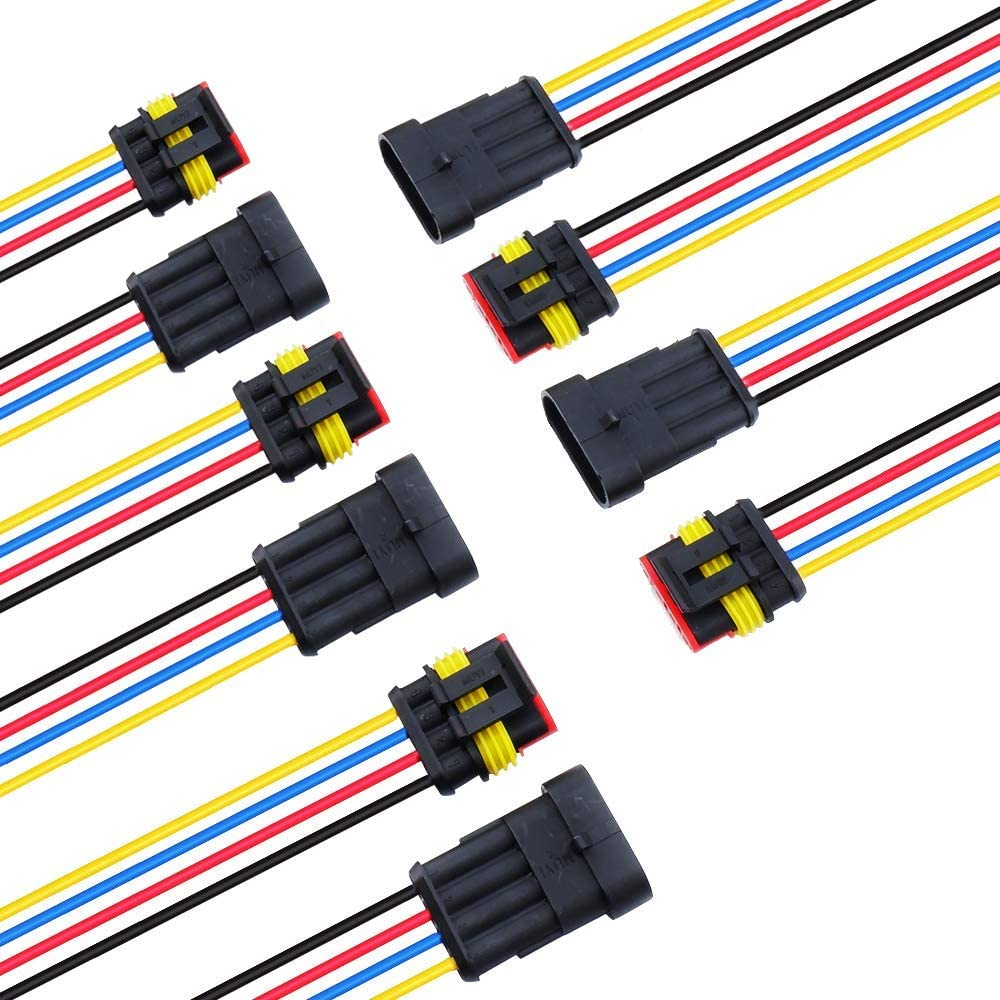 MUYI 5 Sets 18AWG Waterproof Electrical Connectors Kit 1.5mm Series Terminal and Rubber Seal with 10cm Wire Weatherpack Connectors (4 pin)