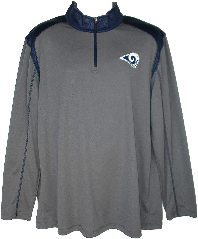 NFL Team Apparel Los Angeles Rams Men's Large 1/4 Zip Pullover Shirt - Gray