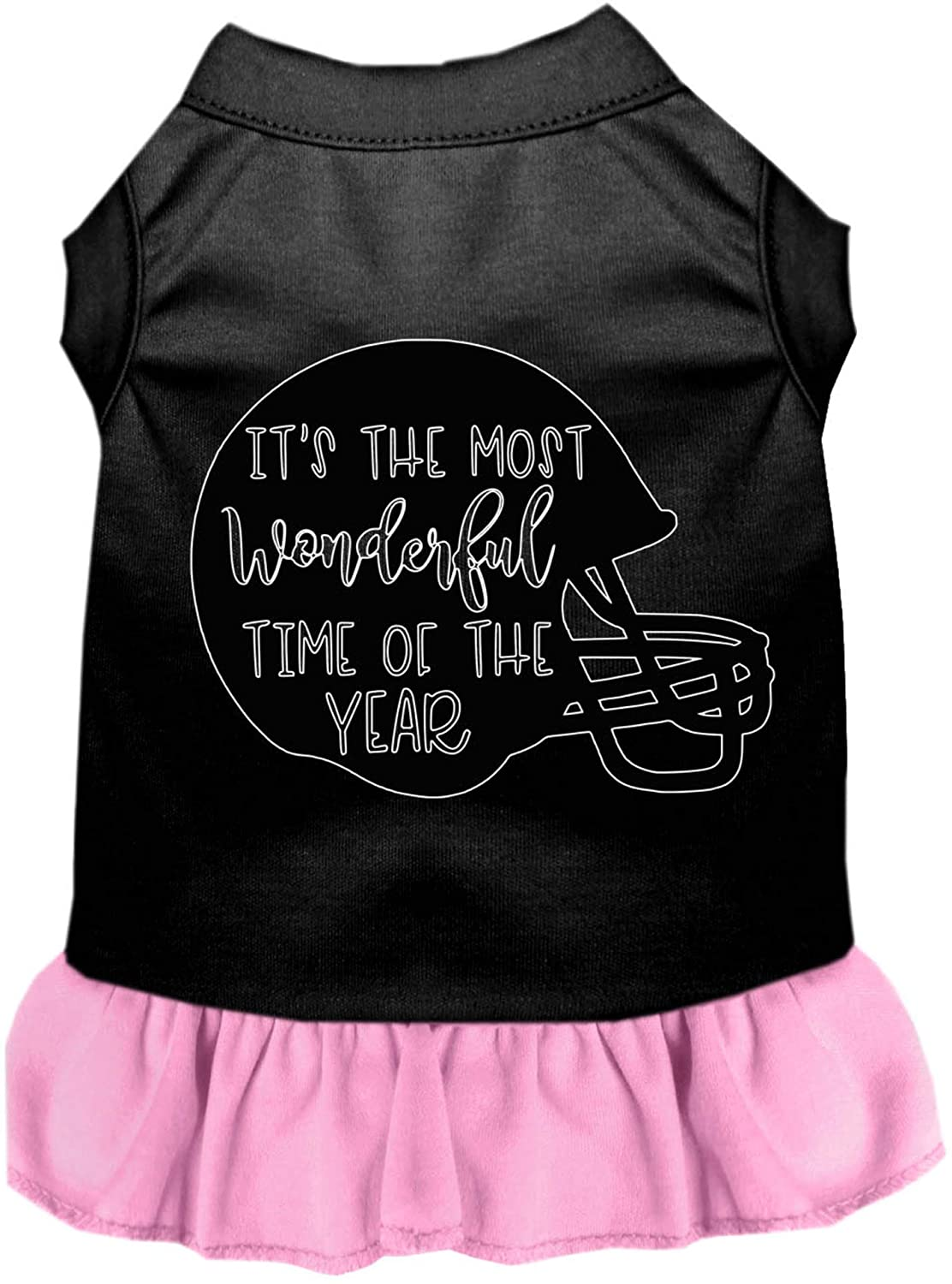 Mirage Pet Product Most Wonderful Time of The Year (Football) Screen Print Dog Dress Black with Light Pink XXXL