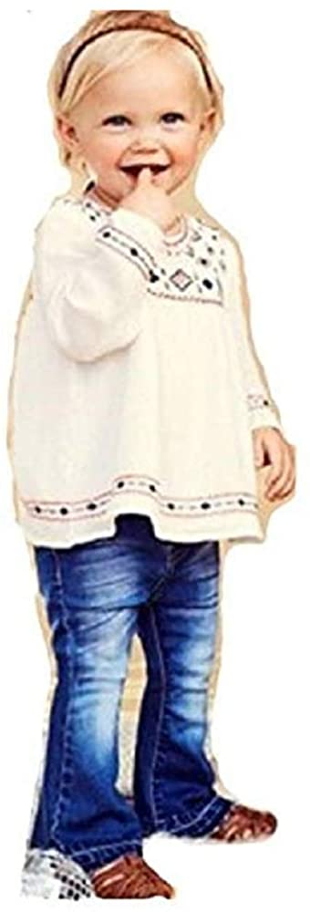 Jessica Simpson Girls 3 Piece Set Shirt with Jeans and Head Band (White) 12M