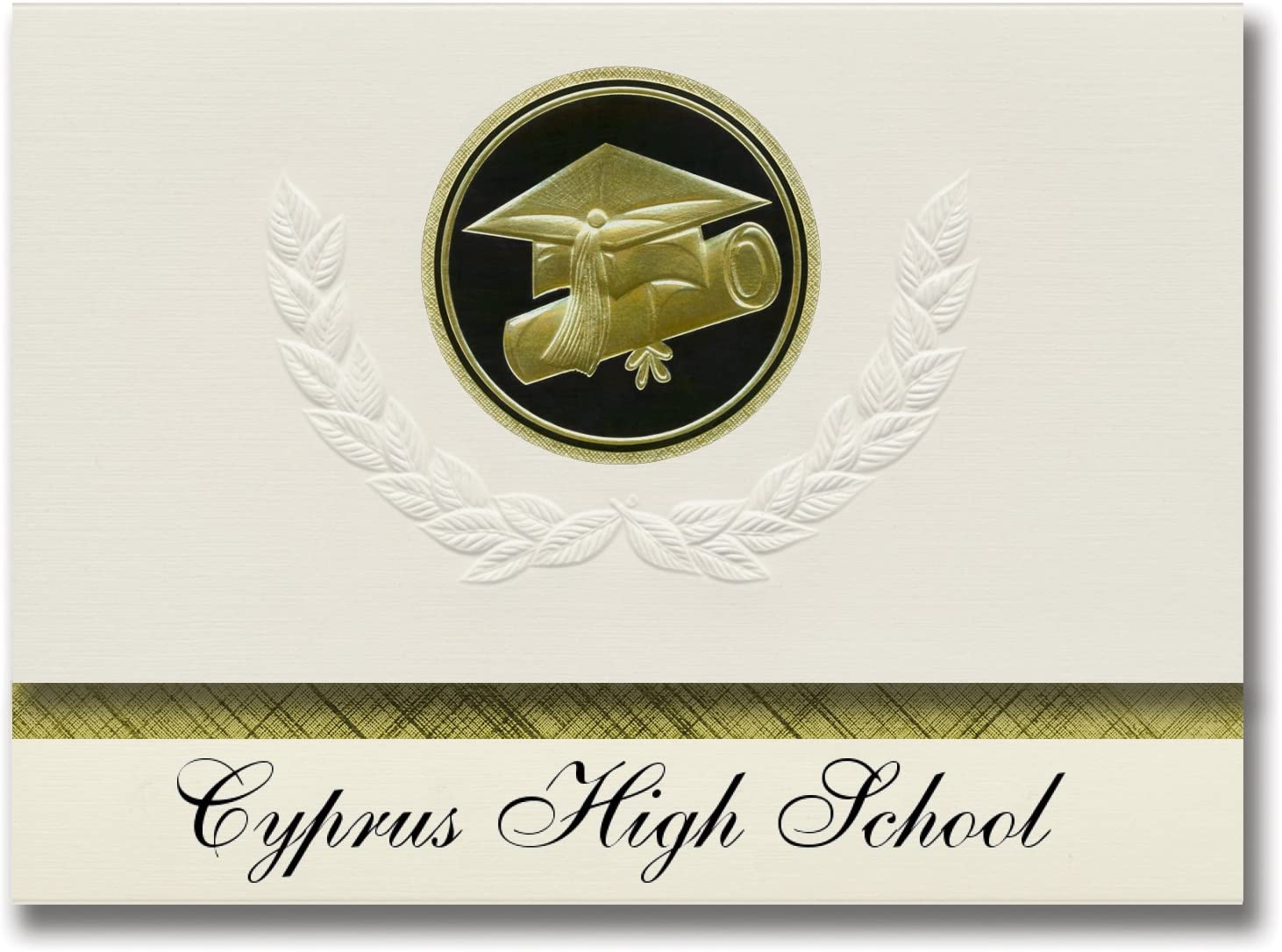 Signature Announcements Cyprus High School (Magna, UT) Graduation Announcements, Presidential style, Elite package of 25 Cap & Diploma Seal Black & Gold