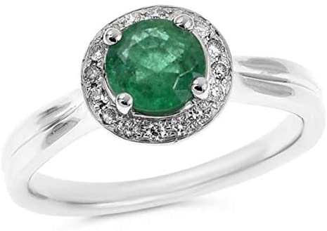 .83CT DIAMOND & AAA EMERALD 14KT WHITE GOLD 3D ROUND HALO ENGAGEMENT RING