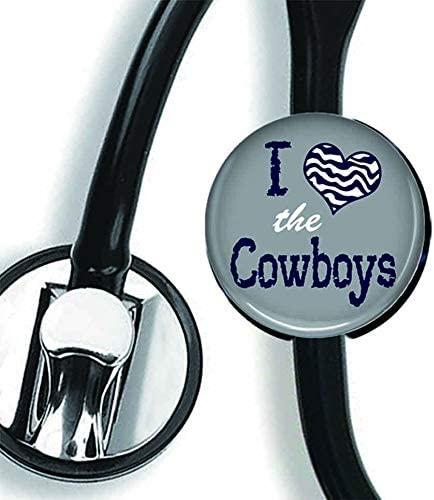 Stethoscope Tag - Football Team Inspired - Stethoscope Accessory - Steth ID Tag/Nurse Badge/RN/LPN/RT (I Heart The Cowboys)