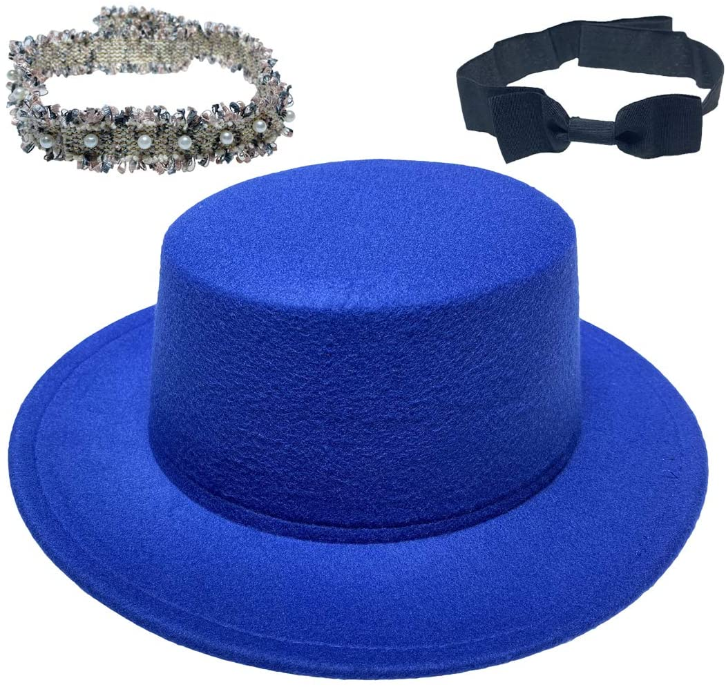 VPbao Wide Brim Flat Top Church Derby Felt Cap Classic Porkpie Cloche Hat with 2pcs Removable Band Perfect for Wedding Talent Show