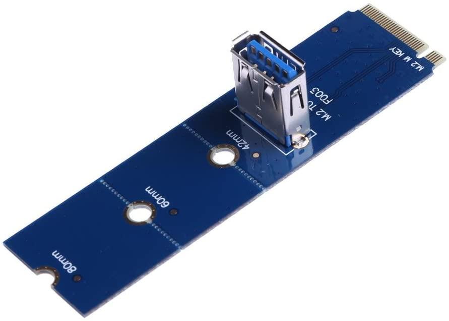 PCIe Riser Mining Card,Awakingdemi NGFF M.2 to USB 3.0 PCI-E Express Riser Card Adapter for BTC Mining