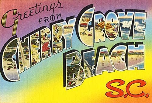 Greetings From Cherry Grove Beach, South Carolina - 1930's - Vintage Postcard Magnet