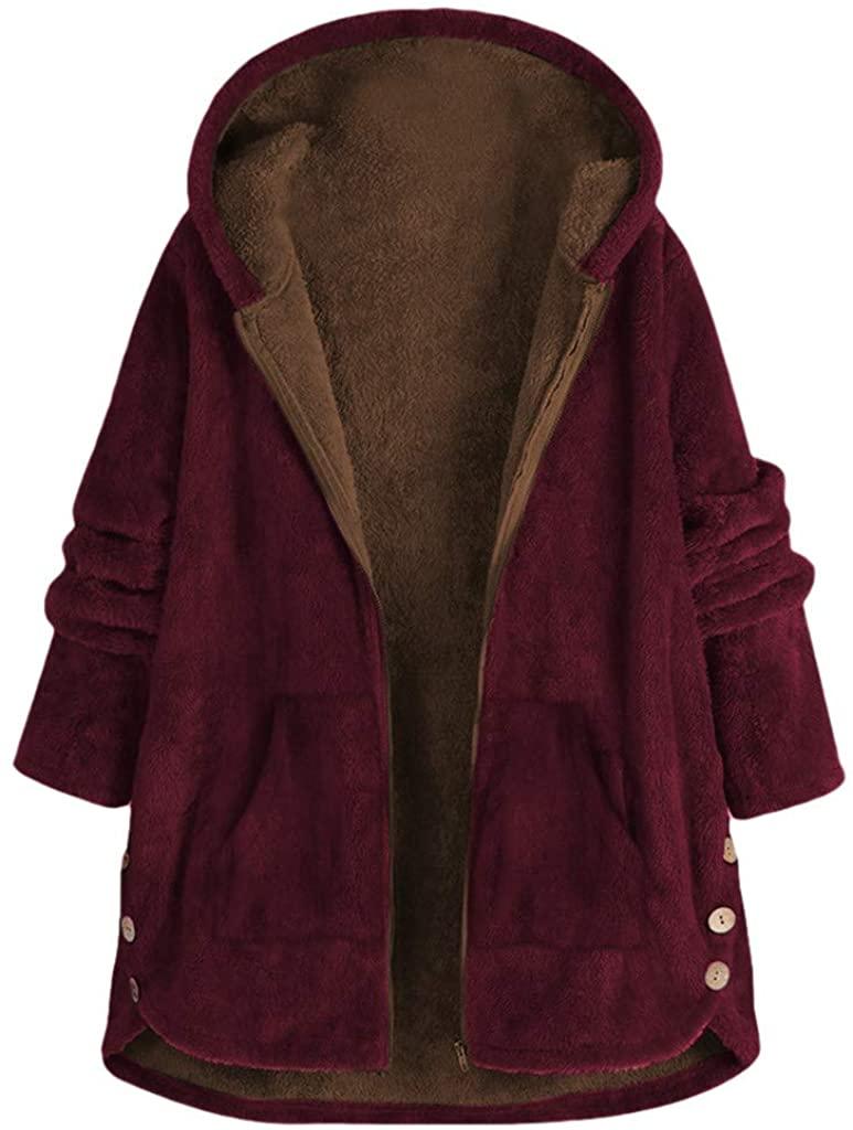 Hengshikeji Womens Winter Warm Coats Solid Fleece Zipper Hooded Jackeet Coat Plus Size Thicken Coats for Women Outerwear