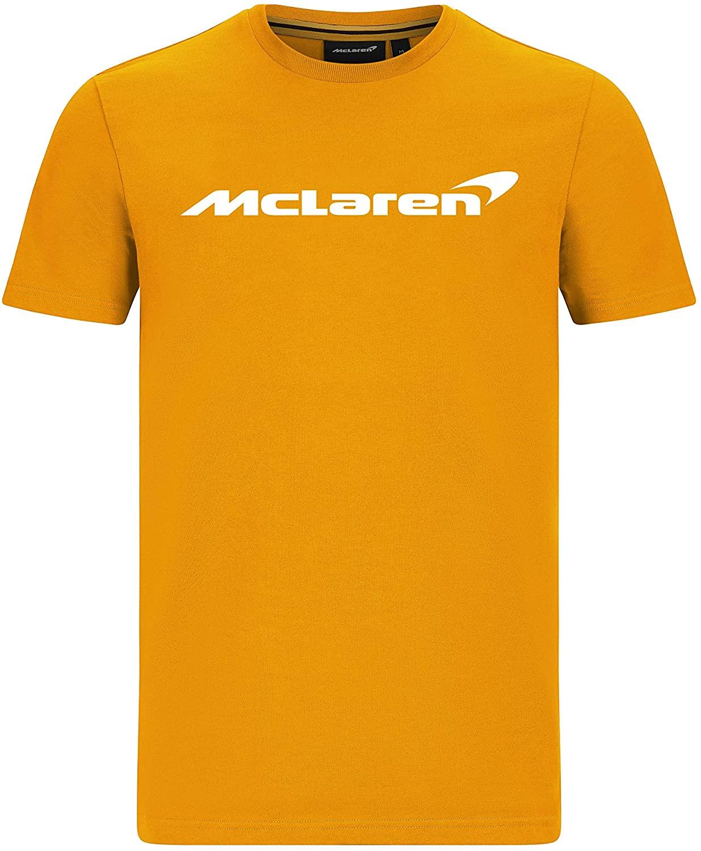 McLaren F1 Mens Essentials T-Shirt Anthracite/Orange/Blue (2XL, Orange)