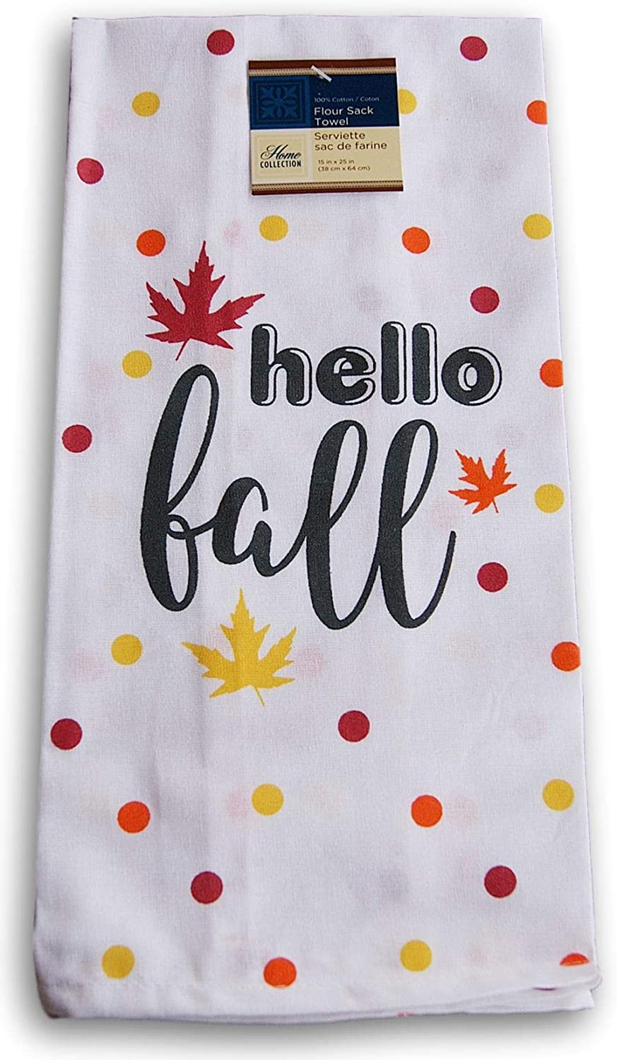Home Linens Flour Sack Kitchen Towel - Hello Fall - 15 x 25 Inches