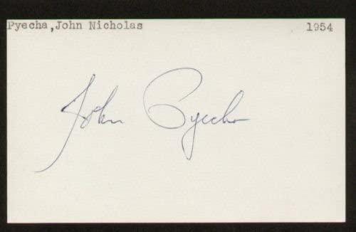 John Pyecha signed autograph 3x5 index card E1495