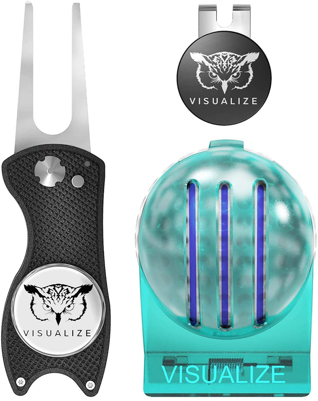 VISUALIZE Golf Accessories Gift Bundle #1- Tri-Line 3 Line Golf Ball Marker + Premium Divot Tool with Ball Marker + Hat Clip with Ball Marker - Gift for Your #1 Golfer (Black)