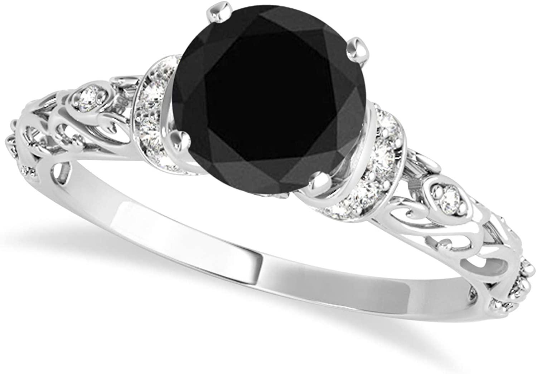 (1.62ct) 14k White Gold Black Diamond and Diamond Antique-Style Engagement Ring