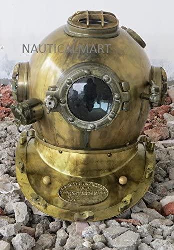NauticalMart Scuba Diving Divers Helmet U.S Navy Mark V Solid Steel Original Antique 18