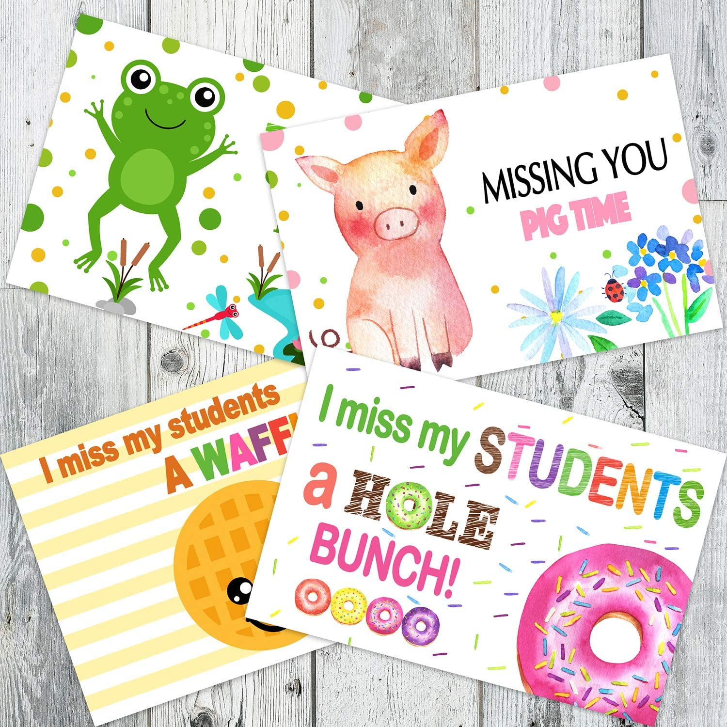 Miss You Postcard for Students – 40 Fill In Notecards (10 of each design) - Positive Postcards from Teachers to Students - Happy Mail from Teacher - Teacher Postcards
