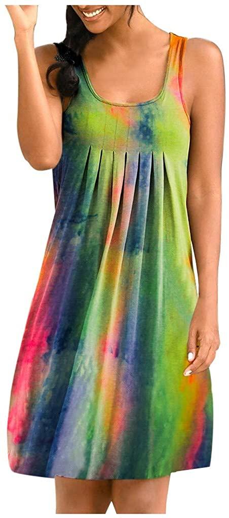 KAIXLIONLY Womens Tank Dress O Neck Sleeveless Tie-Dye Swing Mini Dresses Fashion Pleated Irregular Beach T-Shirt Dress