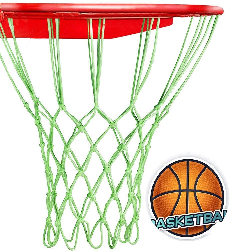 CROCOSTAR Basketball Net, Luminous Heavy Duty Basketball Net Replacement All Weather Outdoor Indoor Nets, 12 Loops Standard Size Glowing Basketball Hoop Net Professional Anti-Whip Net