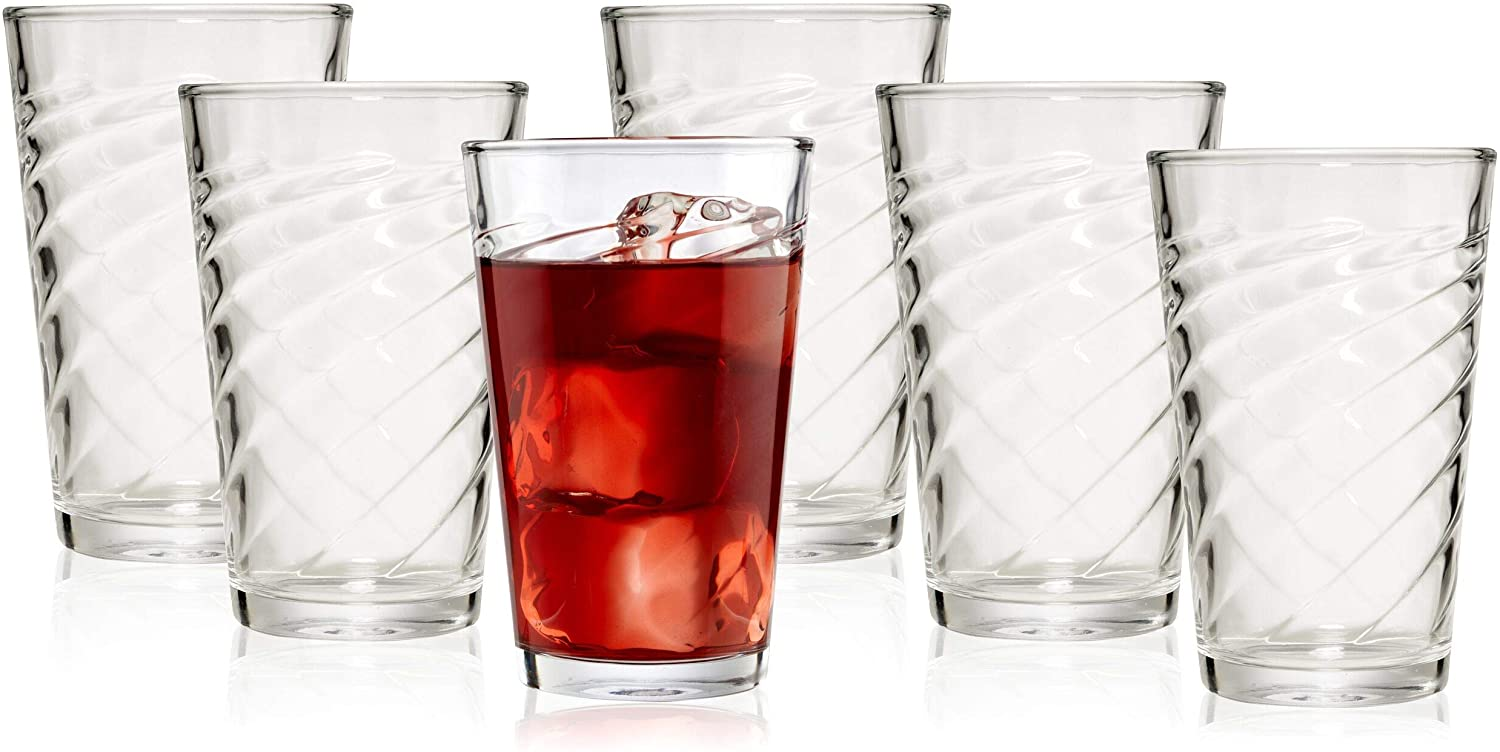 Bezrat Elegant Highball Drinking Glasses | 6 Glass Tumblers for Cocktails, Bloody Mary, Whiskey, Bourbon, Beer, Juice & More | 14-Ounce Opulent Bar & Kitchen Glassware Set is a Phenomenal Gift Idea