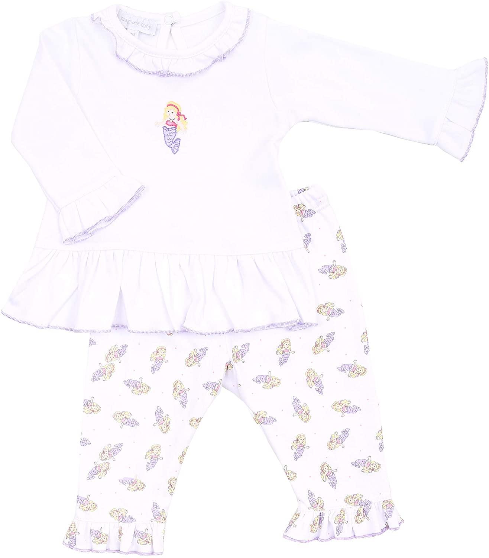 Magnolia Baby Baby Girl Vintage Mermaid Printed Ruffle 2pc Pant Set Lilac