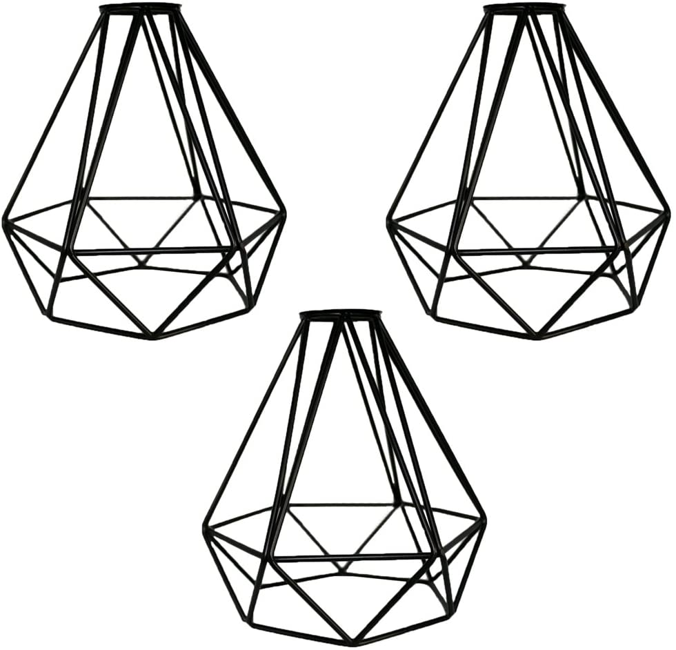 MKLOT Lighting Metal Lamp Guard for Pendant String Lights Vintage Lamp Holders Industrial Chandelier Ceiling Fixture Lamp Shade Iron Wire Diamonds Shape (3 Pack/Lot)