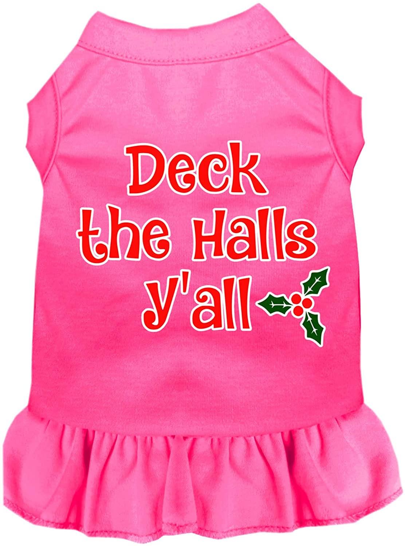 Mirage Pet Product Deck The Halls Y'all Screen Print Dog Dress Bright Pink XXL