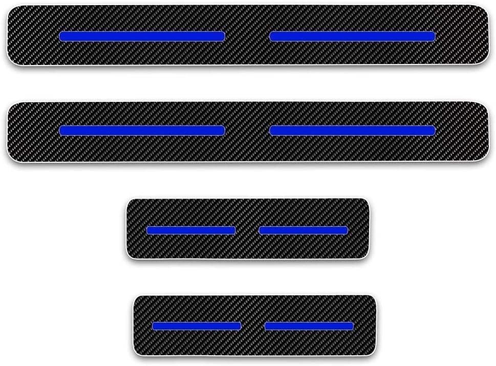 4D Carbon Fiber Vinyl Sticker Car Door Sill Protector Door Entry Scuff Plates for Kia Sportage R Car Accessories Stickers 4PCS
