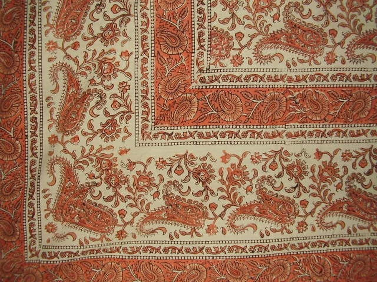 Rajasthan Block Print Paisley Tapestry Cotton Spread 104
