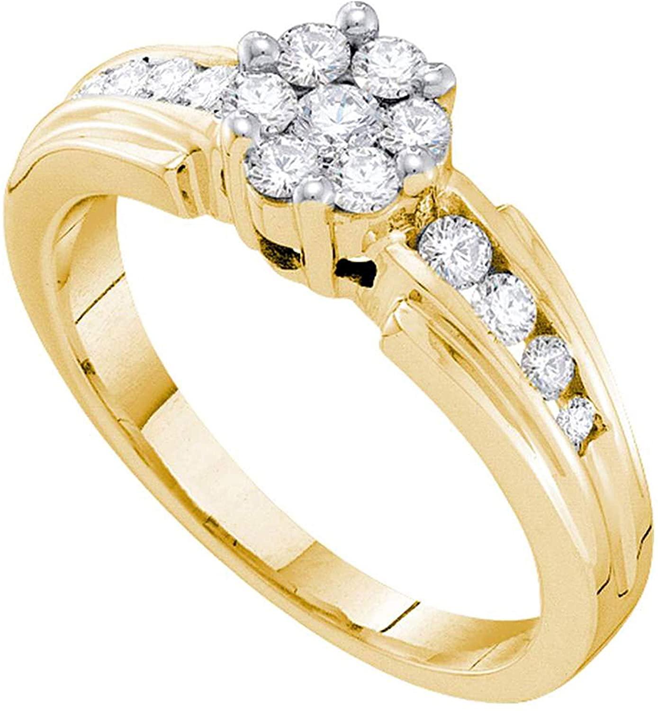 Dazzlingrock Collection 0.5 Carat (Ctw) 1/2 Ct-Diamond Flower Ring, 14k Yellow Gold