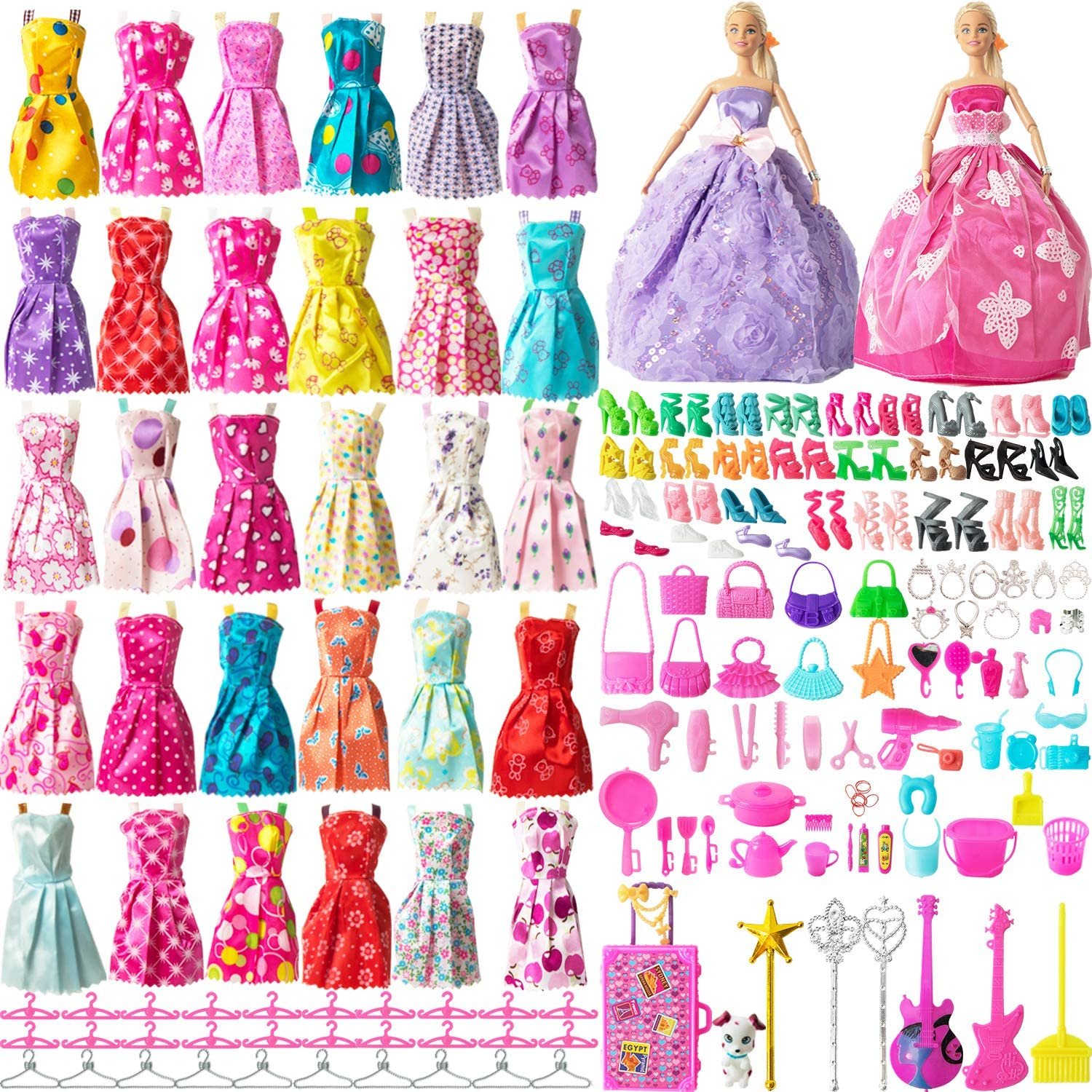 SOTOGO 200 Pieces Doll Clothes and Accessories for 11.5 Inch Girl Doll Different Occasions Include 32 Pieces Handmade Doll Grown Outfits Fashion Party Dresses and 168 Pieces Different Doll Accessories