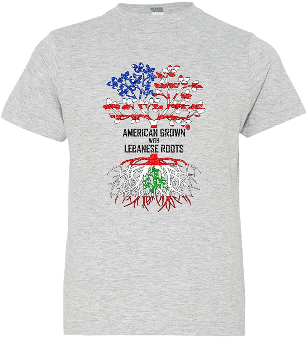 Tenacitee Boy's Youth American Grown with Lebanese Roots T-Shirt