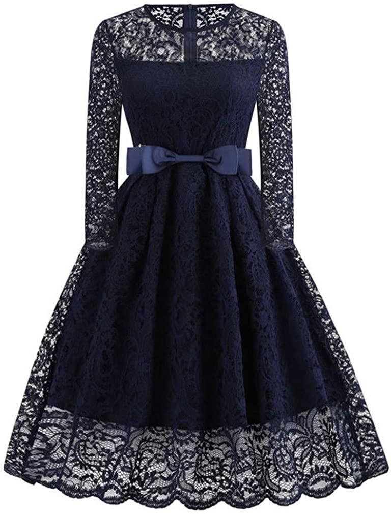 Women Winter Lace Dress Long Sleeve Sexy Evening Party Dresses Hepburn 50S Elegant Vintage Autumn Dress