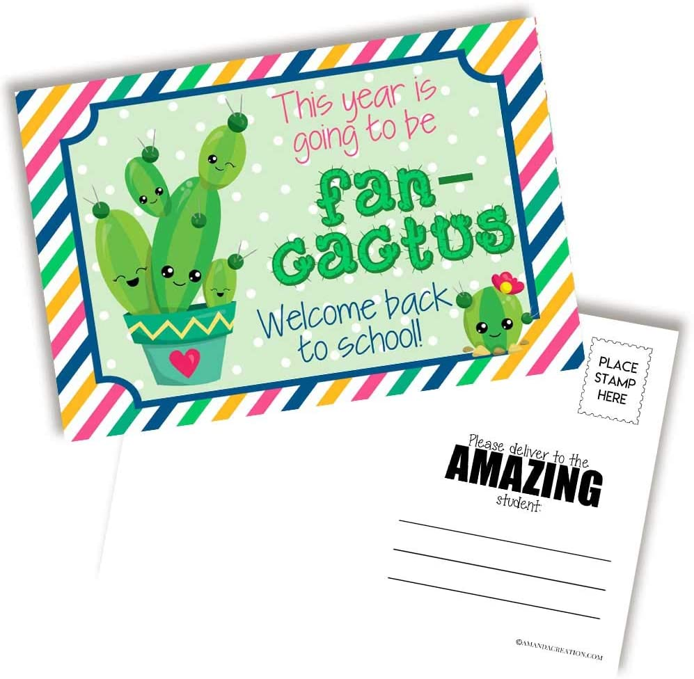 Fun Cactus Themed Welcome Back To School Blank Postcards For Teachers To Send To Students, 4