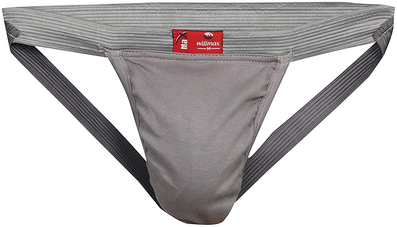 KD Willmax Men's Athletic Supporter Performance Jockstrap Elastic Waistband Underwear(Pack 2 Grey, 3X-Large