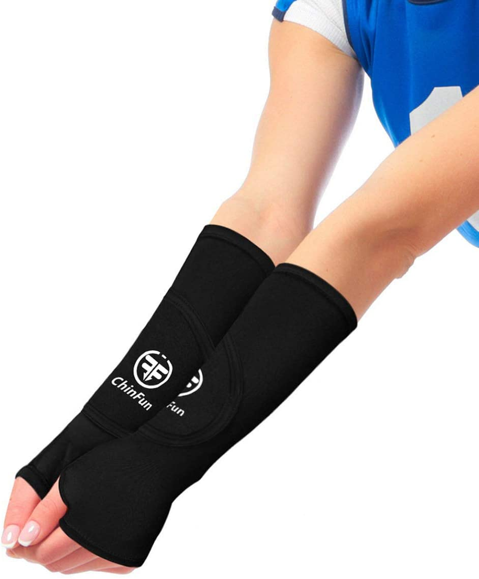 ChinFun Volleyball Padded Sleeves- Volleyball Arm Sleeves with Protection Pad and Thumbhole Ball Hitting Passing Gear for Youth Women