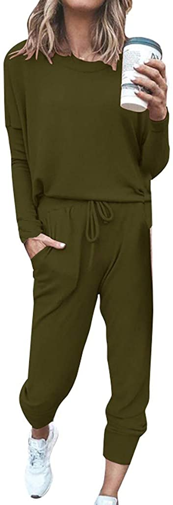 Alangbudu 2Pc Women Suit Long Sleeve Leisure Loungewear Home Sweatpants Sets Jumpsuits Overalls Pure Color Loose Rompers