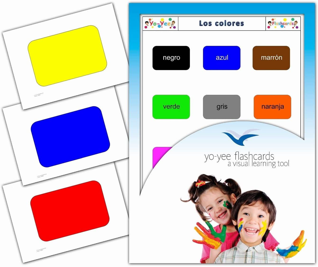 Tarjetas de vocabulario - Los Colores - Color Flashcards in Spanish for Babies 1-2, Toddlers 2-4, Kids, Children and Adults
