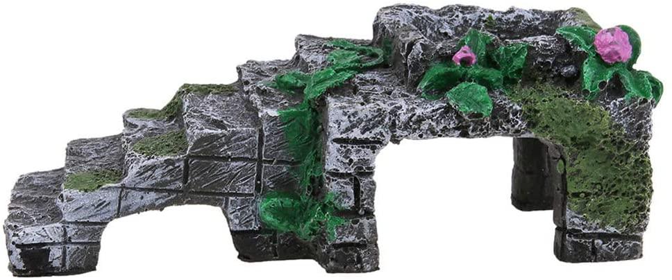 YGZJ Fish Tank Aquarium Ornaments, Artificial Resin Platform Stairs for Tortoise Climb Stone, Turtle Platform Decoration,L